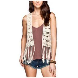 Full Tilt Tan Open Crochet Vest